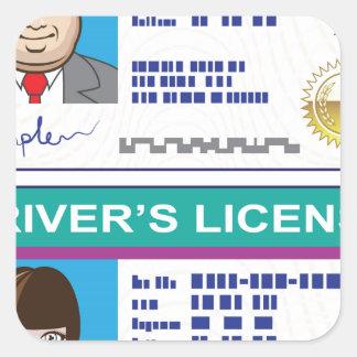 Driver's License Square Sticker