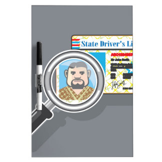 Driver's License under Magnifying glass Dry-Erase Board