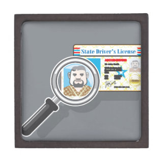Driver's License under Magnifying glass Gift Box