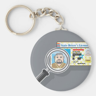 Driver's License under Magnifying glass Keychain