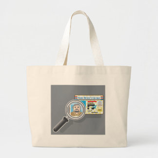 Driver's License under Magnifying glass Large Tote Bag