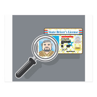 Driver's License under Magnifying glass Postcard