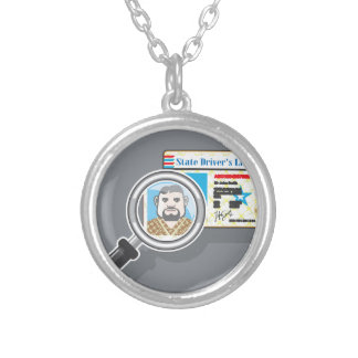 Driver's License under Magnifying glass Silver Plated Necklace