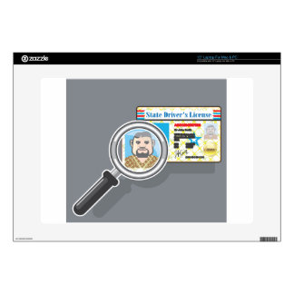 """Driver's License under Magnifying glass Skin For 15"""" Laptop"""