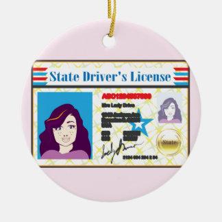 Driver's License Woman photo ID vector Ceramic Ornament