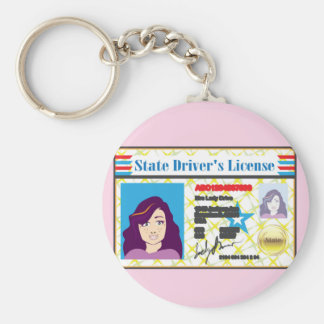 Driver's License Woman photo ID vector Keychain
