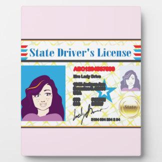 Driver's License Woman photo ID vector Plaque