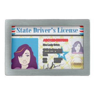 Driver's License Woman photo ID vector Rectangular Belt Buckle