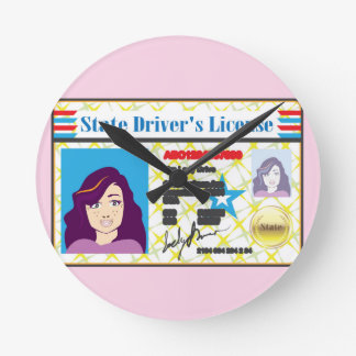 Driver's License Woman photo ID vector Round Clock