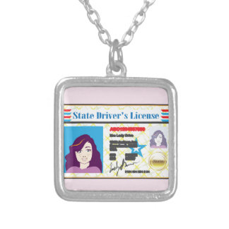 Driver's License Woman photo ID vector Silver Plated Necklace