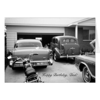 Driveway Full of Vintage Cars Dads Birthday Card