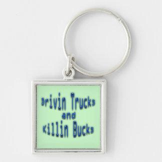 Drivin Trucks and Killin Bucks blue Keychain