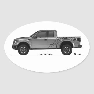 Driving Art Pickup Truck Oval Sticker