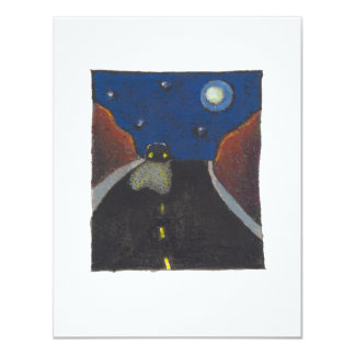 Driving at night fun unique art landscape drawing card