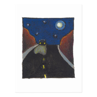 Driving at night fun unique art landscape drawing postcard