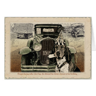 Driving Basset birthday card