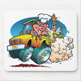 Driving BBQ Pig Mouse Pad