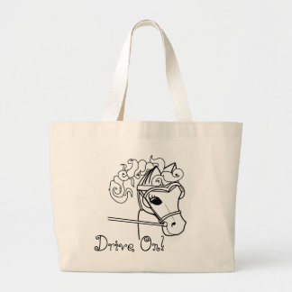 Driving Curly Horse Large Tote Bag