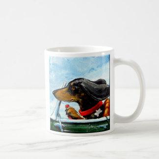 Driving  Dachshuned On Pacific Coast Hwy. Mug