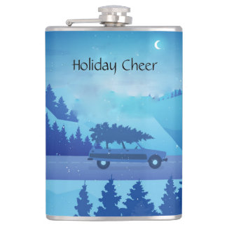 driving down the road with a christmas tree flask