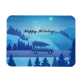 Driving down the road with a christmas tree magnet