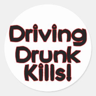 Driving Drunk Kills Classic Round Sticker