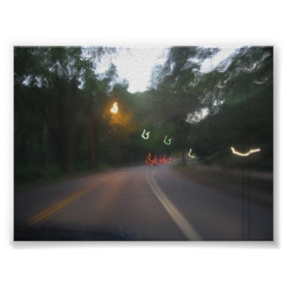 Driving into sunset posters