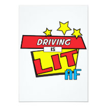 Driving is LIT AF Pop Art comic book style Card