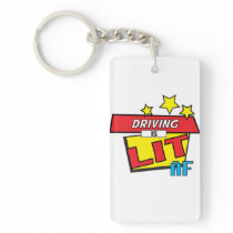 Driving is LIT AF Pop Art comic book style Keychain