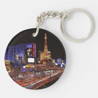 Driving on the Las Vegas Strip Double-Sided Round Acrylic Keychain