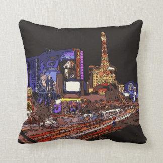 Driving on the Las Vegas Strip Throw Pillows