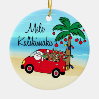 driving santa tropical hawaiian christmas ornament