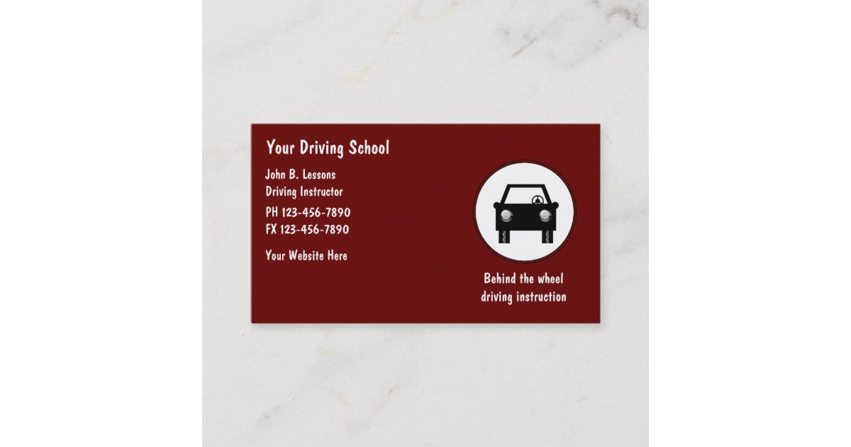 Driving School Business Cards | Zazzle.com