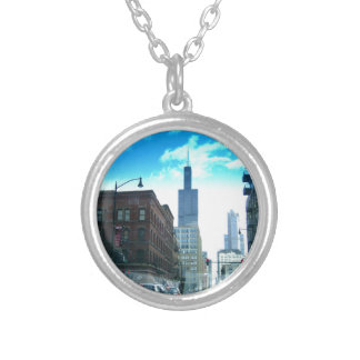 Driving Through Downtown Chicago Silver Plated Necklace