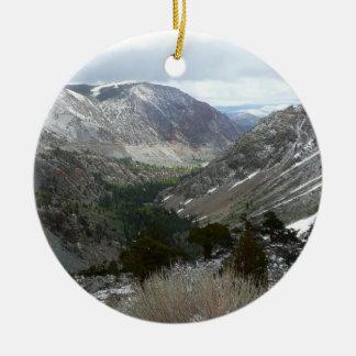 Driving Through the Snowy Sierra Nevada Mountains Ceramic Ornament