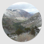 Driving Through the Snowy Sierra Nevada Mountains Classic Round Sticker
