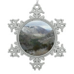 Driving Through the Snowy Sierra Nevada Mountains Snowflake Pewter Christmas Ornament