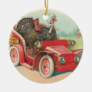 Driving Turkeys Thanksgiving Ornament