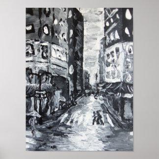 drizzle de la avenida     de las escenas del nyc q póster