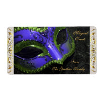 Drk Blue Masquerade Mask  Halloween Baking Label Shipping Label