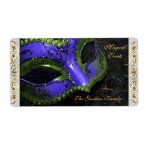 Drk Blue Masquerade Mask  Halloween Baking Label Shipping Label