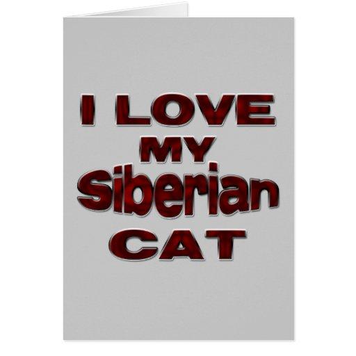 Drk siberiano del gato tarjeta de felicitación