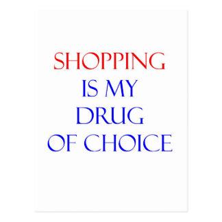 Droga de las compras de la opción tarjetas postales