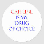 Droga del cafeína de la opción etiqueta redonda