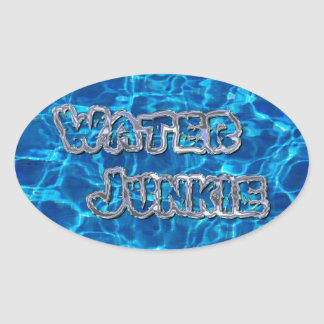 Drogadicto 3 del agua pegatina ovalada