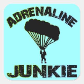 Drogadicto de la adrenalina pegatina cuadrada