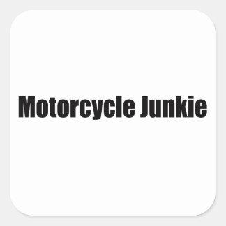 Drogadicto de la motocicleta pegatina cuadrada