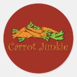 Drogadicto de la zanahoria etiquetas redondas