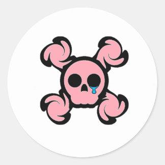 Drogadicto de Techno (rosa) Pegatina Redonda