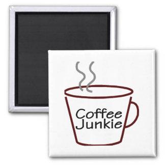 Drogadicto del café imán cuadrado